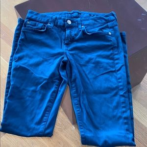 Teal Skinny 7 for All Mankind skinny jeans